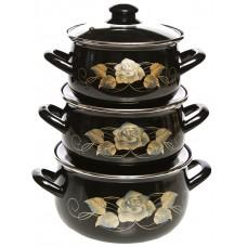 Черное золото набор кастрюль эмалированных из 3 предметов TM INTEROS