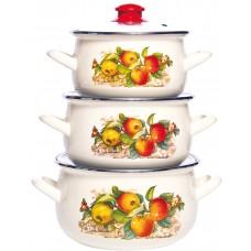 Яблоки набор кастрюль эмалированных из 3 предметов TM INTEROS