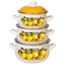 Лимоны набор кастрюль эмалированных из 3 предметов TM INTEROS - купить оптом в Москве по доступной цене