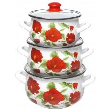 Каркаде набор кастрюль эмалированных из 3 предметов TM INTEROS - купить оптом в Москве по доступной цене