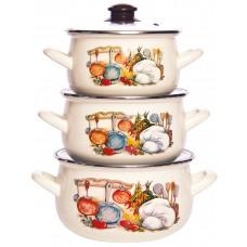 Кухня набор кастрюль эмалированных из 3 предметов TM INTEROS - купить оптом в Москве по доступной цене
