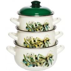 Маслины набор кастрюль эмалированных из 3 предметов TM INTEROS - купить оптом в Москве по доступной цене